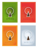 Vector posters. Four year seasons. Seasonal posters with stylize — Stock Vector