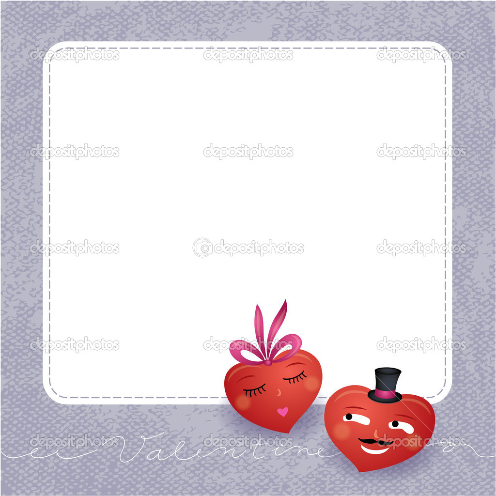 Two vector hearts in love. Cute illustration for wedding or Valentine's day. — Stock Vector #19948151