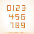 Abstract numbers in retro style with discreet stripped backgroun — Stock Vector