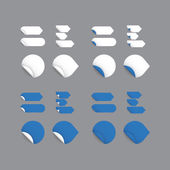 Realistic vector stickers - blue collection. Modern design, blan — Stock Vector