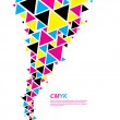 CMYK color profile. Abstract triangle flow - twister in cmyk col — Векторная иллюстрация