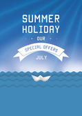 Summer holiday template. Vector illustration. Blue, clean sky an — Stock vektor
