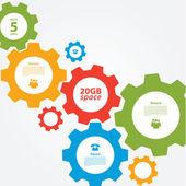 Vector cogwheel template. Cogwheel connection, teamwork. — Stock Vector