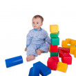 Child with plastic blocks and cubes — Stock Photo