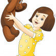 Character, girl with a teddy bear, cartoon style, vector, illust - Stock Photo