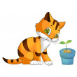 Clipart, animal, kitten, cartoon style, vector, illustration, wh - Stock Photo