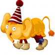 Royalty-Free Stock Photo: Character, animal, yellow elephant, circus, cartoon style, vecto