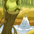 Frog and the river character cartoon style vector illustration — Stock Photo