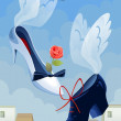 Angelic shoes cartoon style vector illustration — ストック写真