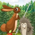 Rabbit and hedgehog character cartoon style vector illustration — Stock Photo #22567491