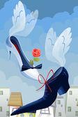 Angelic shoes cartoon style vector illustration — Stock Photo