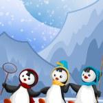 Funny penguins character cartoon style vector illustration — Stock Photo #22619791