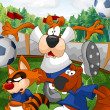 Raccoon dog beaver playing football character cartoon style vect - Stock Photo