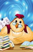 Owl teacher character cartoon style vector illustration blue bac — Stock Photo