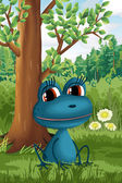 Frog in the forest character cartoon style vector illustration — Stock Photo