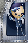 Meccano iron boy character cartoon style vector illustration — Stock Photo