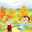Royalty-Free Stock Photo: Boy and girl in the forest character cartoon style vector illust