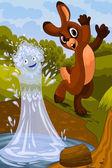 Rabbit and the lake character cartoon style vector illustration — Stock Photo