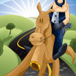 Cowboy on horse character cartoon style vector illustration - Stock Photo