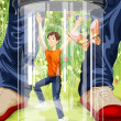 Boy in a jar character cartoon style vector illustration — Stock Photo