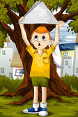 Boy in the park character cartoon style vector illustration — Stock Photo