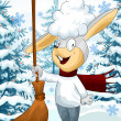 Bunny winter forest character cartoon style vector illustration — Stock Photo #23100218
