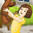 Girl and teddy bear character cartoon style vector illustration — Stock Photo