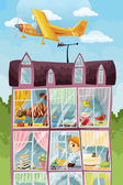 House and the plane character cartoon style vector illustration — Stock Photo