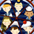 Team sailors character cartoon style vector illustration — Stock Photo #23301058