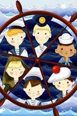 Team sailors character cartoon style vector illustration — Stock Photo