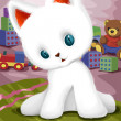 Playful white kitten character cartoon style vector illustration — Stock Photo