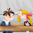 Girl teases boy character cartoon style vector illustration — Stock Photo