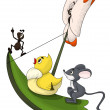 Ant duck mouse butterfly voyage character cartoon style vector i — Stock Photo
