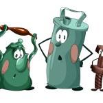 Cheerful crockery clipart cartoon style vector illustration whit — Stock Photo #23476653