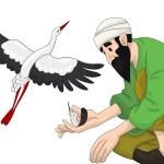 Arab man stork clipart cartoon style vector illustration white b — Stock Photo #23476663