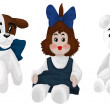 Toy dog doll teddy clipart cartoon style vector illustration whi — Stock Photo
