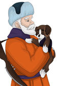 Man keeper guard puppy character cartoon style vector illustrati — Stock Photo