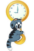Kitten clock character cartoon style vector illustration white b — Stock Photo