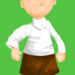 Freckled boy character cartoon style vector illustration green b — Stock Photo