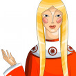 Girl blonde character cartoon style vector illustration white ba — Stock Photo