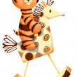 Toy tiger hobby horse character cartoon style vector illustratio — Foto de Stock