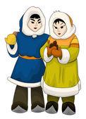 Young Chukchi character cartoon style vector illustration white — Stock Photo
