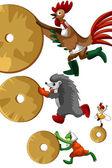 Kohout ježek žába setrvačníku clipart kreslený styl vektor nemocných — Stock fotografie