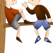 Boys friends tree character cartoon style vector illustration wh — Stock Photo