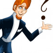 Man artist question clipart cartoon style vector illustration wh — Stock Photo