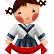 Girl doll character cartoon style vector illustration white back — Stock Photo