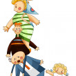 Family clipart cartoon style vector illustration white ba — Stock Photo