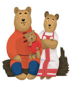 Bears family character cartoon style vector illustration white b — Stock Photo