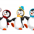Penguins friends character cartoon style vector illustration whi - Stock Photo