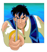 Man hero brave character cartoon style vector illustration white — Stock Photo